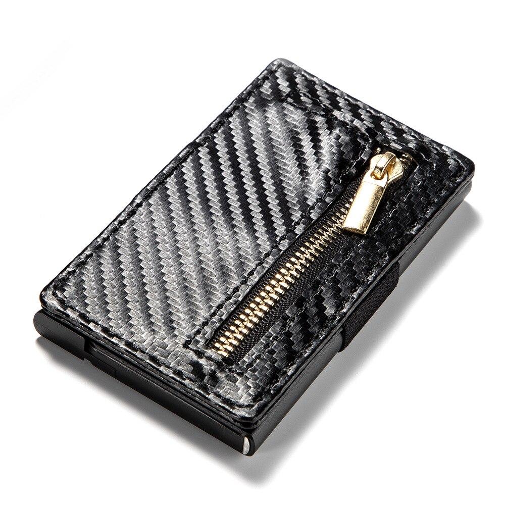New Carbon fiber Card Holder RFID Aluminium Men Credit Card Holder women Leather Wallet Antitheft Automatic Pop Up Card case