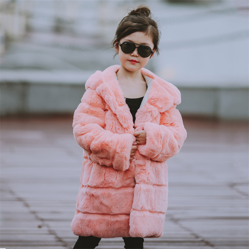2017 Children Full Rabbit Fur Coat Outwear Kids Girls  Winter Natural 100% Rex Rabbit Fur Long Warm Jacket Hooded Coat for Girls new winter girls boys hooded cotton jacket kids thick warm coat rex rabbit hair super large raccoon fur collar jacket 17n1120