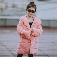 2017 Children Full Rabbit Fur Coat Outwear Kids Girls Winter Natural 100% Rex Rabbit Fur Long Warm Jacket Hooded Coat for Girls
