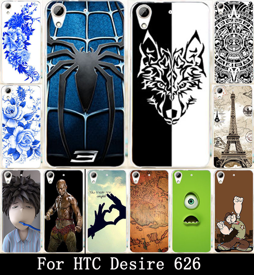 AKABEILA Eiffel Tower eye Skull Bat Family Painted Hard PC Cover Case For HTC Desire 626 650 628 626w 626D 626G 626S Shell Bags