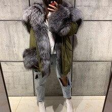 Futro naturalne parka kobiety prawdziwa futrzana kurtka