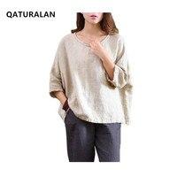 Women Shirts Loose Batwing Sleeve Vintage 2016 Autumn Spring Fashion Cotton Linen Tops Women White Plus