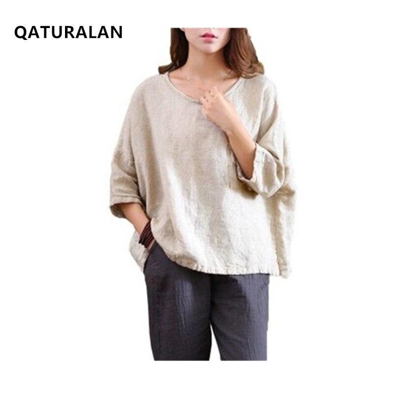Femmes chemises lâche manches chauve-souris Vintage 2018 automne été mode coton lin hauts femmes blanc grande taille O cou lâche Blouse
