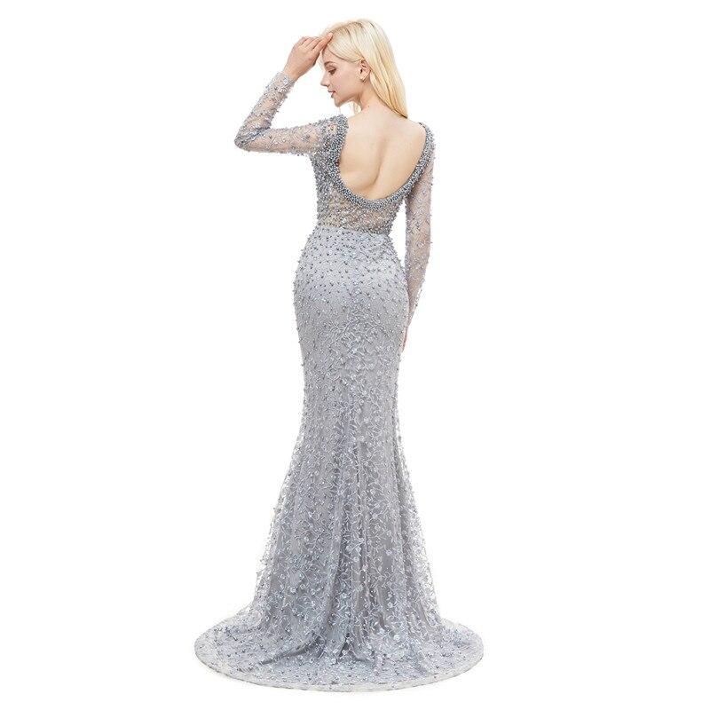 Luxe robes de soirée dentelle 2019 sirène manches longues perles cristaux rose femmes formelle Robe de soirée Robe de bal Robe de soirée - 6