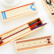 Creative Wood pull multifunction stationery pencil case cute student pen case