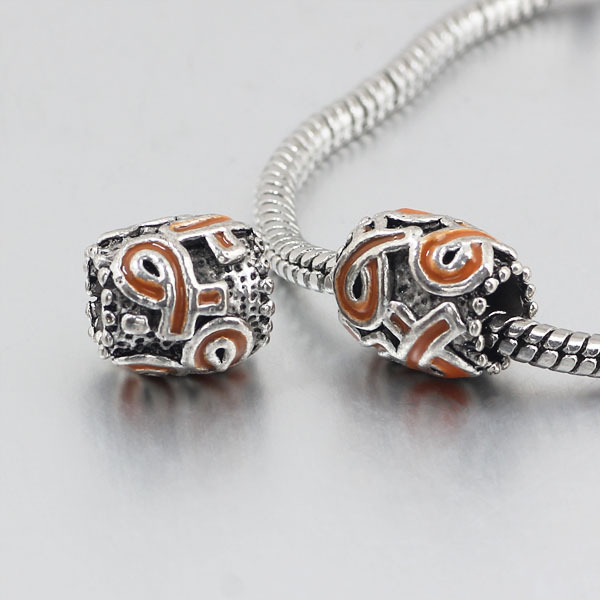 free shipping 1pc orange ribbon big hole Bead charms Fits European Charm Bracelets & Necklaces A135