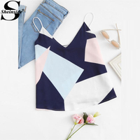 Sheinside 2017 Mixed Geometric Print Cami Vest Ladies V Neck Spaghetti Strap Casual Summer Vest Women