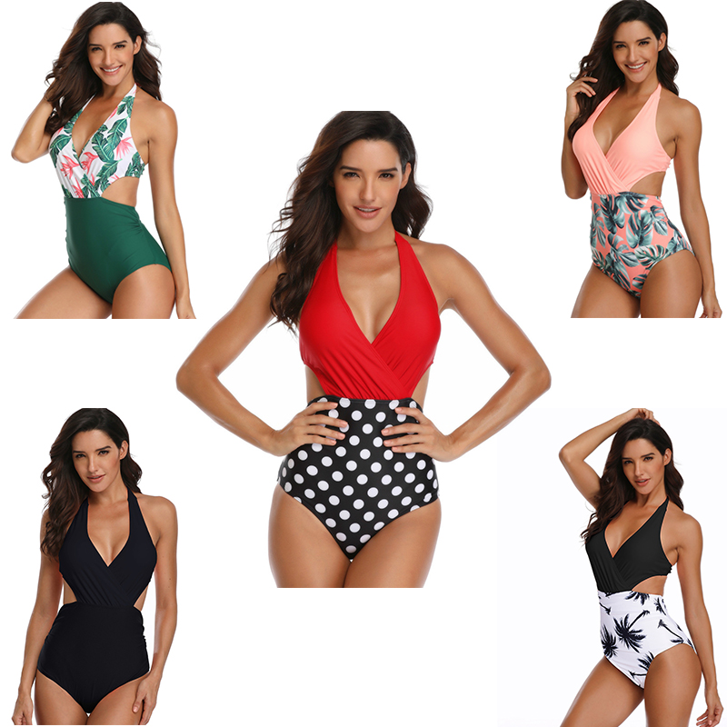 PRYDYC Swimwear One-Piece Monokini High-Waist Deep-V-Neck Women Print Sexy