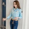 Nova Chegada da Primavera 2017 das Mulheres Coreanas Bonito Bordado Camisa Blusa Manga Comprida Turn Down Collar Céu Azul 3019