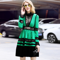 European foreign trade women's clothing high end luxury lace velvet long sleeve dress 2018 spring dress new female.