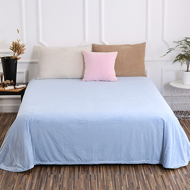 Fashion Small Fresh Light Blue Solid Color Bedding 1pcs Flat Sheets King Size Bed Queen