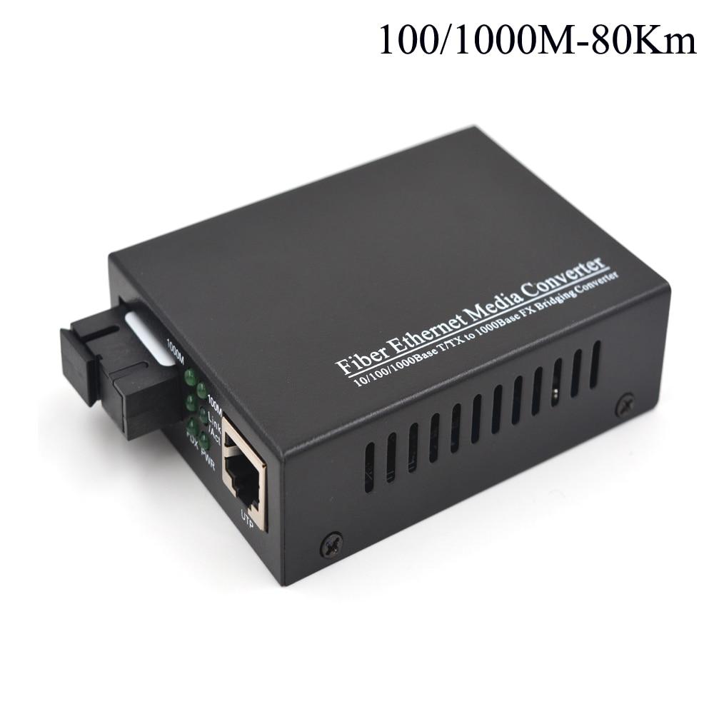 80Km Gigabit Optical Media Convertes 10/100/1000Mbps Ethernet To Fiber Optic Transceivers For CCTV Security System - Singlemode