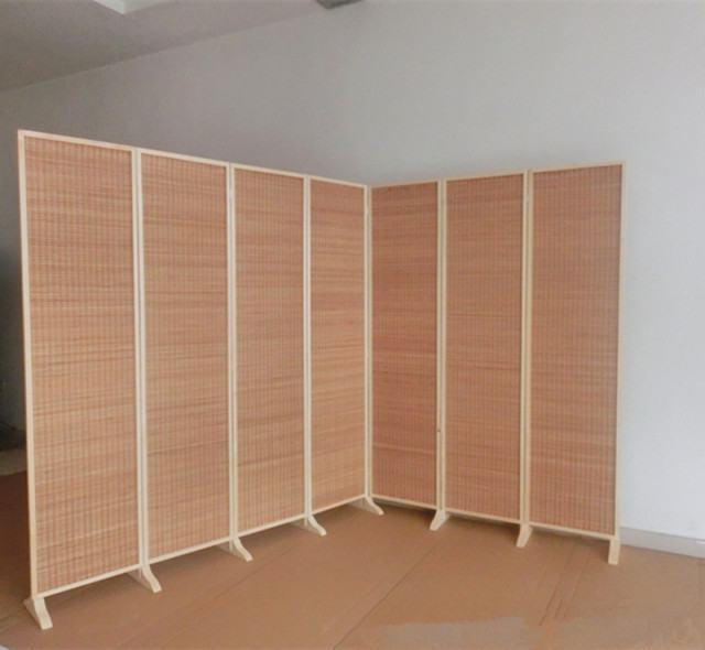 Wide and Large Decorative Freestanding Woven Bamboo 7 Panel Hinged
