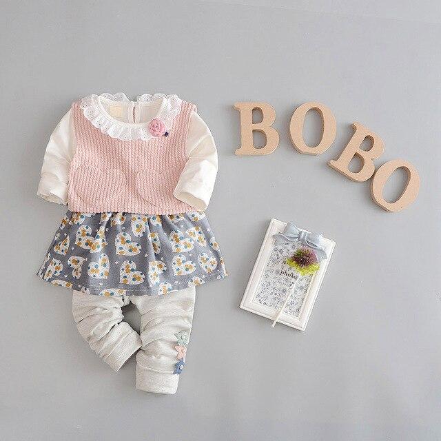 2017 New Spring Long Sleeve Baby Girls Knitted vest+Love printing dress+ Flowers Leggings pants Infants 3pcs clothing set S4672