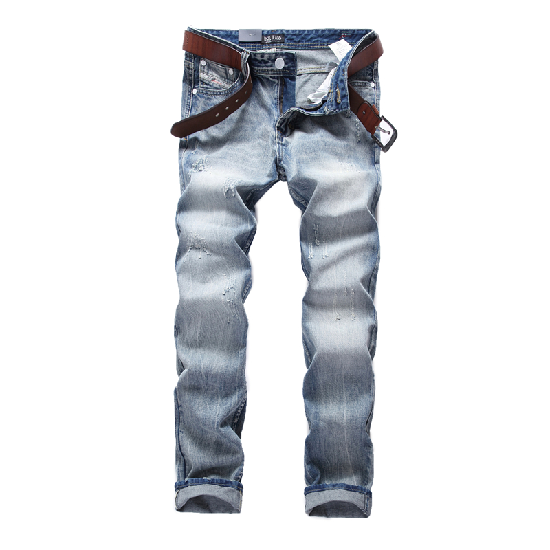 high quality light blue jeans men fashion famous logo