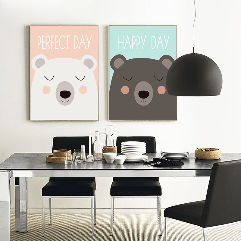 Bianche Wall Two Cute Little Children Cartoon Bear Canvas Painting Art Print Poster Picture Home Children Bedroom Decoration