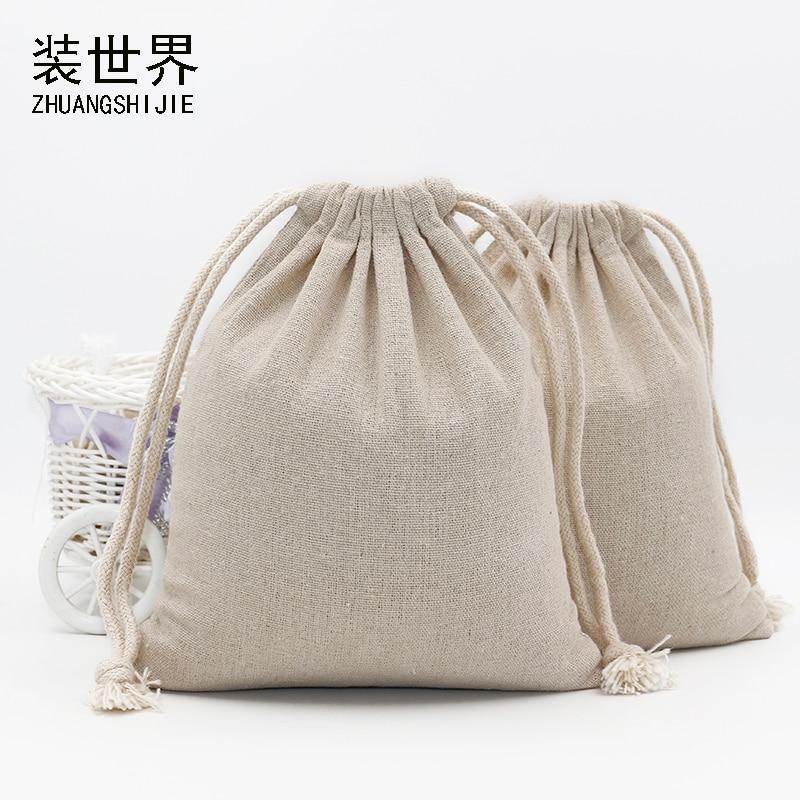 2pcs 23*31cm Custom Logo Print Cotton Linen Bag Pouch Drawstring Bags Christmas Jewelry Pouches Travel Organizer