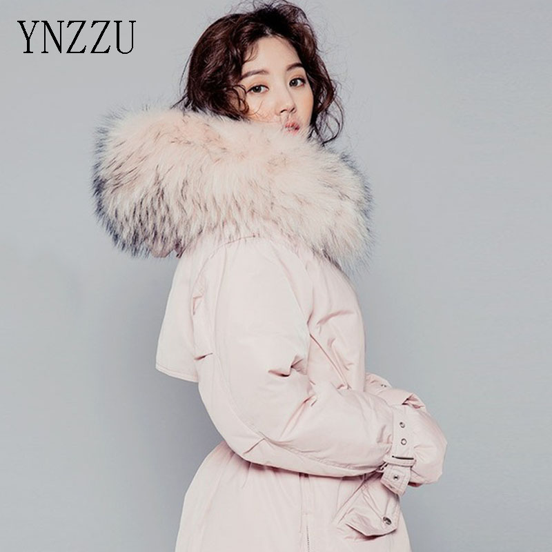 YNZZU New Korean Duck   Down     Coat   Women Mid-Long Pink Large Real Fur Collar Thick Warm Hooded Winter Women Jackets Outwears YO102