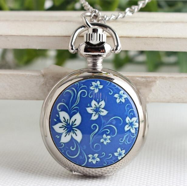 Blue Flower Fashion Quartz Silver Flip The Modern Hours Woman For Girl Pocket Watches Gift