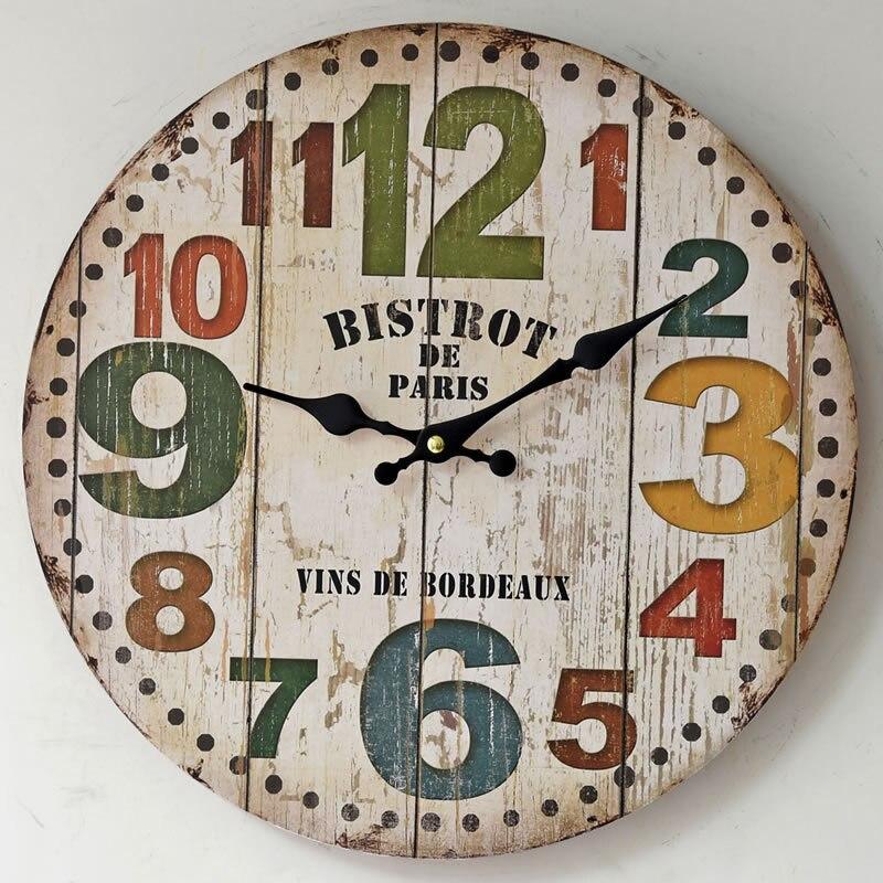 2017 new american style orologi vintage creativo big rotondo digitale orologio da parete in legno cucina