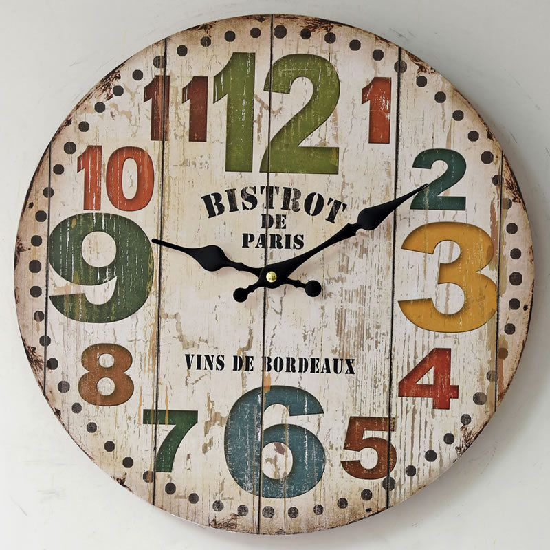 2017 new american style clocks vintage creative big digital round wood wall clock kitchen clocks decoration. beautiful ideas. Home Design Ideas