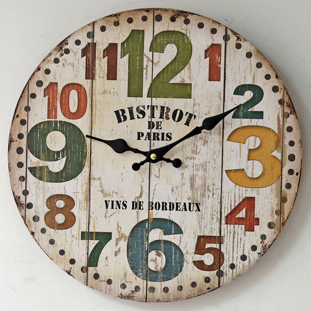 Wooden Kitchen Clock Upholstered Counter Stools 2018 New American Style Vintage Clocks Creative Big Digital Round Wall 35cm Home Decorations