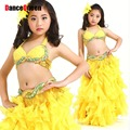 2017 New Proessional Kids Girl Belly Dance Saia Cigana Clothes Vestido Indiano Top-Bra&Belt&Skirts Ruched Tulle 8Colors One Size