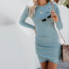 Women Summer Solid color Sexy round neck bag hip irregular long Seeves and Short Sleeve Dress Slim Fit Bodycon Dress Vestido sexy style round neck long sleeve solid color backless women s dress