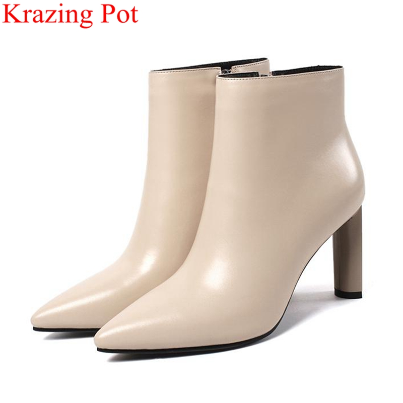 Krazing Pot 2018 big size pointed toe cow leather women ankle boots zipper super high nightclub office lady winter shoes L88 krazing pot winter kid suede cow leather patch work high heel basic boots winter zipper round toe office lady ankle boots l12