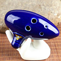 Hot Sell Toys 6 Holes New Ocarina Ceramic Alto C Legend Of Zelda Ocarina Flute Blue Instrument Toy For Children FL