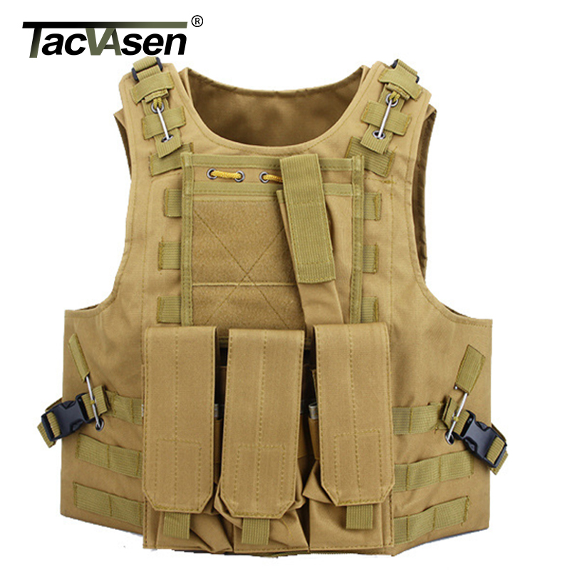 TACVASEN Men's Camouflage Military Tactical Vest Wargame Molle Armor Vest Paintball Equipment Men Army Green Vest TD-SZLM-015