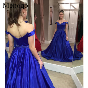 Fitted Royal Blue Off Shoulder Prom Dresses A Line Satin Long Evening Gowns Sexy Backless Holiday Special Occasion Dress 2019