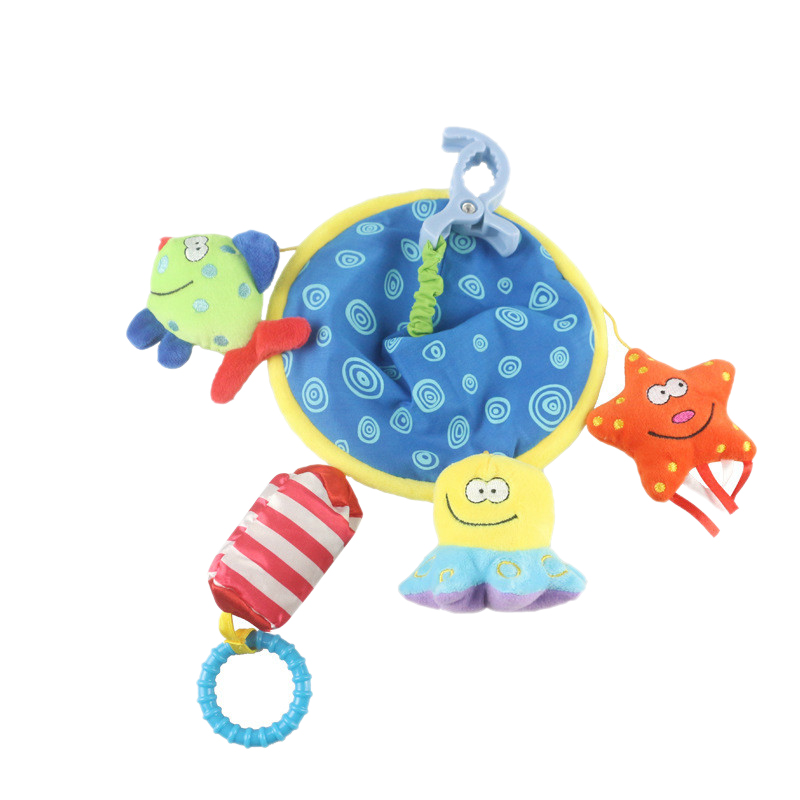 Baby Carriage Rattle Baby Bed Bell Newborn Plush Toy Early Childhood Education Underwater World Car Bell Rotating Plush Rattle