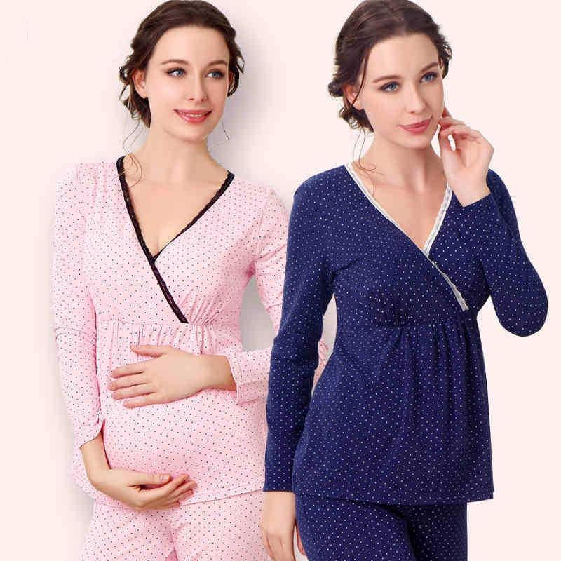 Livraison gratuite les femmes enceintes sous - vêtements thermiques définit coton pyjamas allaitement essentielle soins de maternité vêtements lingerie