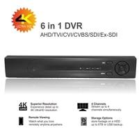 Support 1080P / 4MP / 5MP / 8MP CCTV camera CPU Huawei Hi3521A 4 channel 4K 6 in 1 hybrid XVI TVi CVI NVR AHD DVR recorder P2P