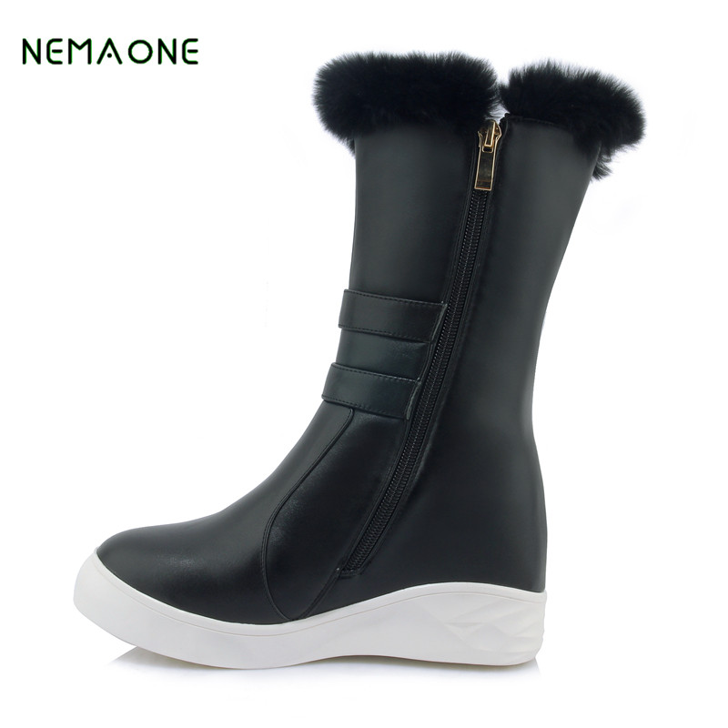 NEMAONE New Top Quality Genuine Cowhide Leather Snow Boots Real Fur Mujer Botas Waterproof Warm Wool Winter Boots Women Boots aiweiyi womens high quality genuine leather real fur 100