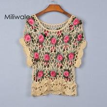Новая мода лето осень выдалбливают ручной вязки цветы Топ рубашка короткий рукав пуловер с круглым вырезом Женская футболка