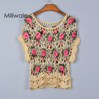 New fashion summer autumn hollow out hand crocheted flowers top shirt short sleeve pullover o neck women T shirt