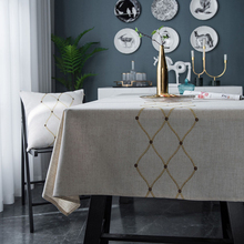 Simanfei Table Cloth Embroidered Diamond Geometry Gold Imitation Decoration Cotton Linen Tea Cover Rectangle Tablecloths