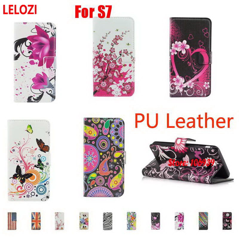 LELOZI Painted PU Leather Wallet Wallt Women Case For Samsung Galaxy S7 SM G930 Flower Fashion Vintage Abstract Beautiful Heart