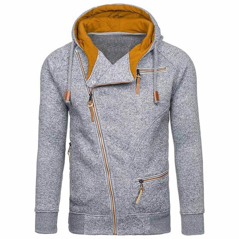Moda de nova Mens Camisola Homens Zipper AutumnSolid Streetwear Blusas de Inverno Dos Homens de Malha Com Cordão Casual Magro Blusas de Hip Hop