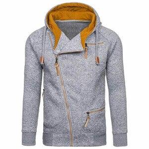 Image 1 - Nova moda masculina camisola com zíper outonnsolid malha streetwear masculino suéteres de inverno com cordão casual camisolas finas hip hop