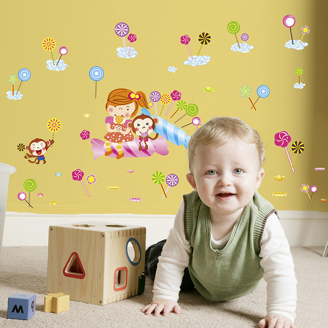 DIY Lolly Candy Wall Stickers Creative Infantile Wall Art Diy Home ...