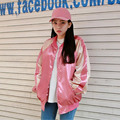 New Spring and Autumn Thin Pink Bomber Jacket For Women Loose Casual Jacket Woman 4 colors