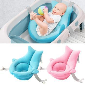 Almofada da banheira do chuveiro do bebê dos desenhos animados portátil antiderrapante esteira da banheira da segurança do recém-nascido apoio do banho travesseiro macio dobrável