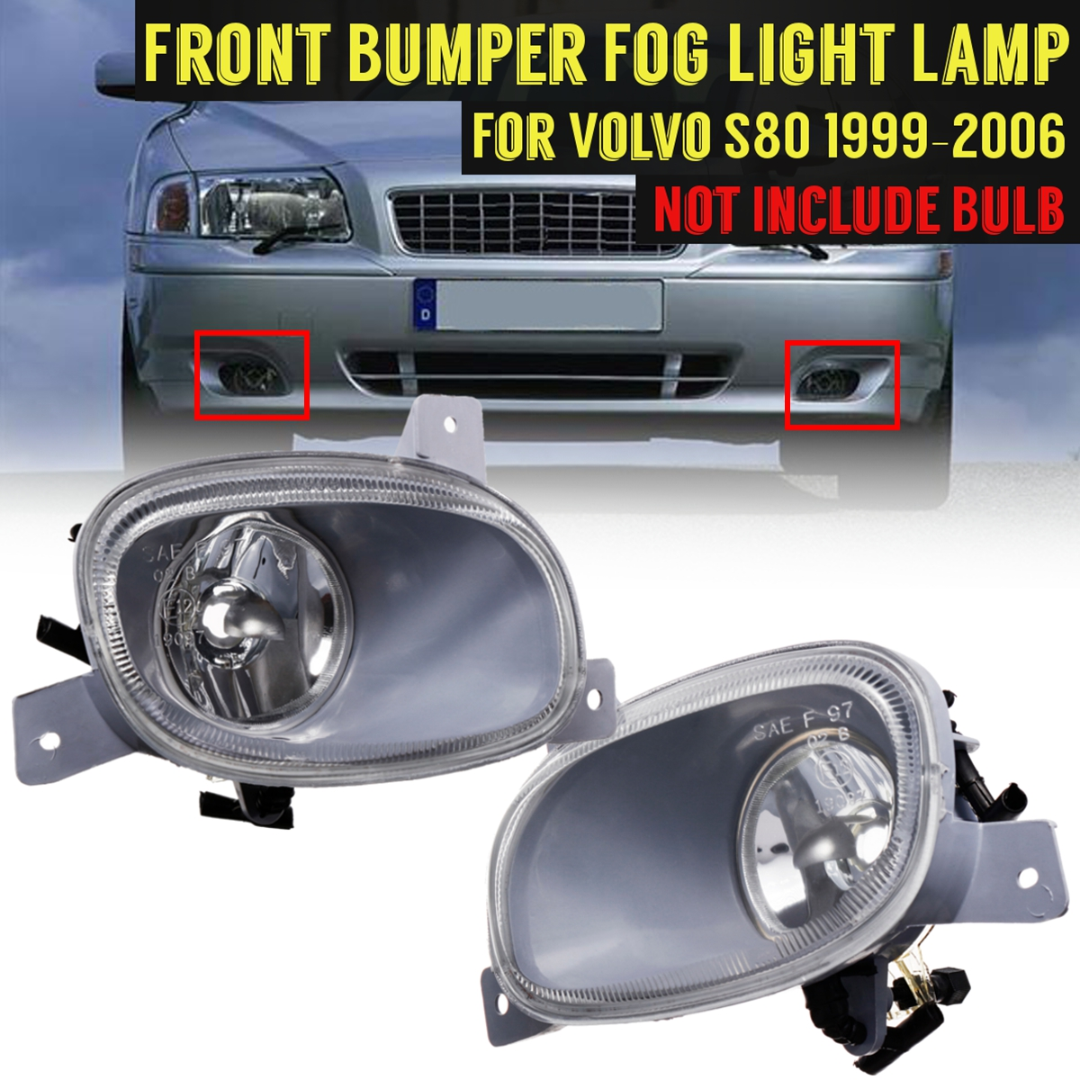 For Volvo S80 1999 2000 2001 2002 2003 2004 2005 2006 8620224 8620225 1 Pair Front Bumper Fog Light With no Bulb Lamp for 2001 2002 2003 2004 2005 porsche 996 911 4s coupe turbo oe style no hole carrera front bumper lip spoiler
