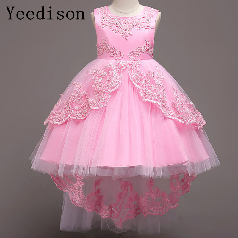 Vestido de novia de alta calidad con bordado de perlas para niñas, vestido de fiesta de Navidad para niños, vestido de princesa para niñas