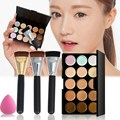 15 Colors Contour Concealer Palette Makeup Cream Corrector+Sponge Puff +163 Flat Makeup Powder Brush for Face