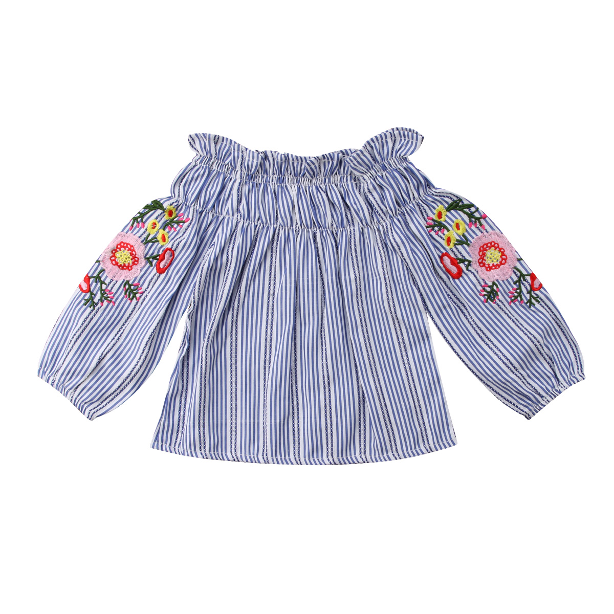 Toddler Baby Kid Girl Clothing Stripe Floral Embroider Off-Shoulder T-shirt Casual Summer Long Sleeve Tops Clothes Girls 1-7T