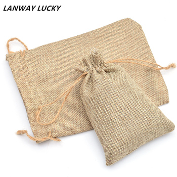 Large Natural Jute Pouch Drawstring Bags Shoes Scarf Clothes Sock Dress Storage Packaging Bag For Home Storage 20x25cm 50pcs